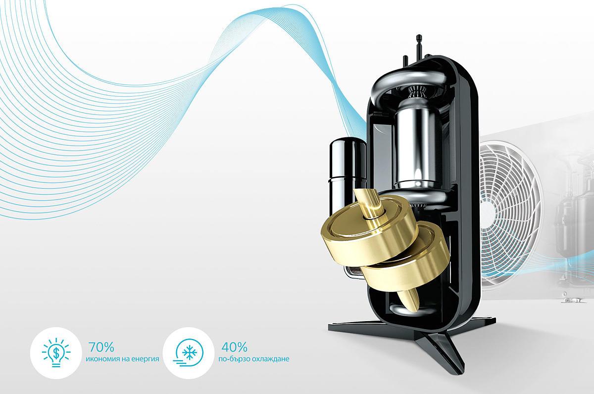 DUAL Inverter Compressor™ с 10-годишна гаранция DUAL Inverter Compressor™ на LG разрешава проблемите с несъответствията, неефективността и шума, в резултат на което получавате климатик, който охлажда по-бързо, експлоатира се по-дълго и да работи по-тихо. С 10-годишната гаранция на компресора потребителите могат да се възползват от предимствата на климатика на LG по-продължително време.