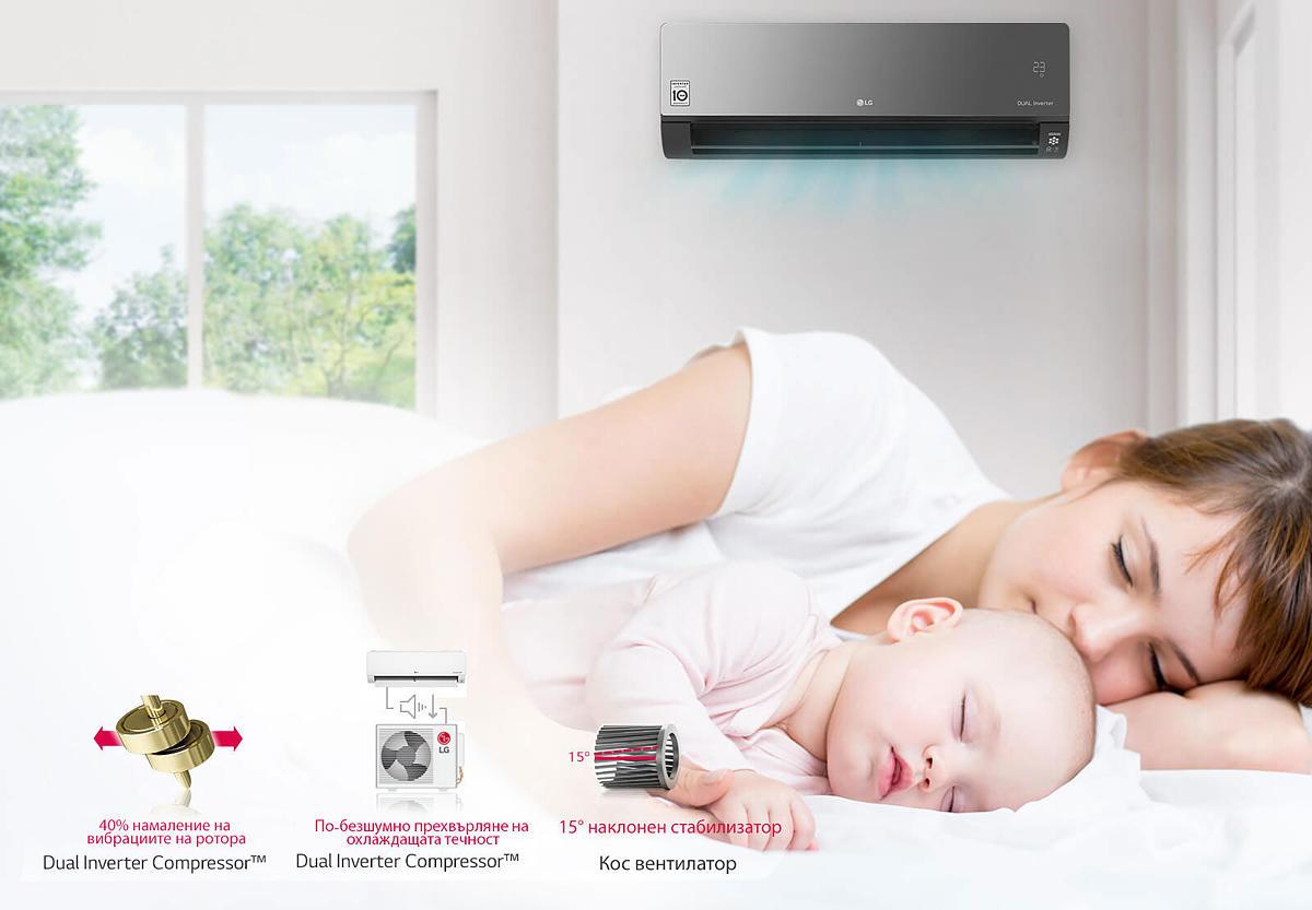 Ниско ниво на шума Климатиците LG работят с ниски нива на шум благодарение на уникалния кос вентилатор и Dual Inverter Compressor™ на LG, които елиминират ненужния шум и позволяват плавна работа.